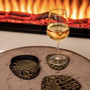Cartello Home - Onderzetters croco leder ei-vormig goud