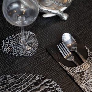 Cartello Home - Onderzetters croco leder ei-vormig zilver