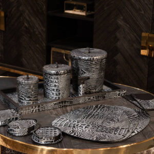 Cartello Home - Onderzetters croco leder rond zilver