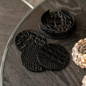 Cartello Home - Onderzetters croco leder rond zwart