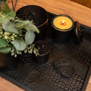 cartello home - dienblad zwart leder croco